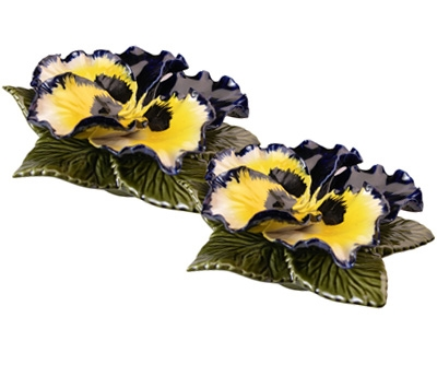 Ceramic 14cm Single Blue and Yellow Pansy