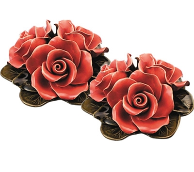 Ceramic 16cm Bouquet Of Coral Roses