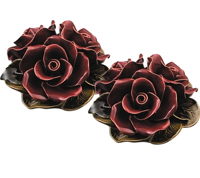 Ceramic 16cm Bouquet Of Deep Red Roses