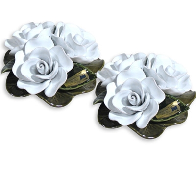 Ceramic 16cm Bouquet Of White Roses