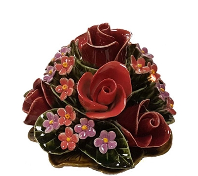 Ceramic 16cm Bunch Of Roses and Forget-Me-Nots