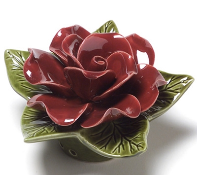 Ceramic 17cm Single Deep Red Rose