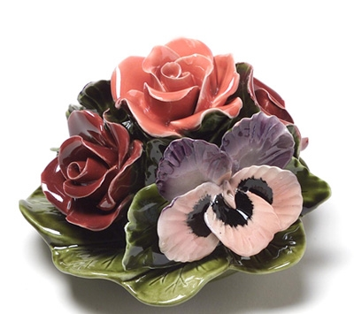 Ceramic 16cm Bunch Of Roses And Pansies