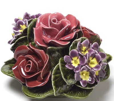 Ceramic 16cm Bunch Of Roses And Violets