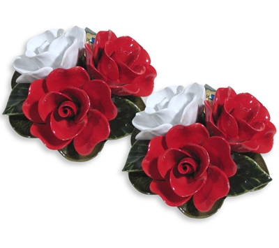Ceramic 16cm Bouquet Of Red And White Roses