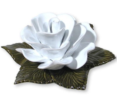 Ceramic 17cm Single White Rose