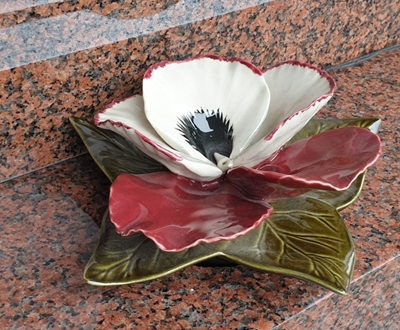 Ceramic 14cm Single Red And White Pansy