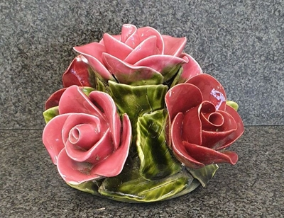Ceramic 16cm Bunch Of Red And Pink Roses