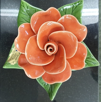 Ceramic 17cm Single Coral Rose