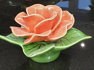 Ceramic 14cm Single Coral Rose
