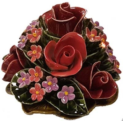 Ceramic 16cm Bunch Of Roses And Forget me Nots