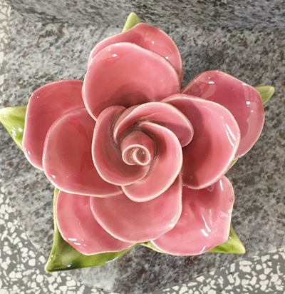 Ceramic 14cm Single Pink Rose