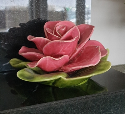 Ceramic 17cm Single Pink Rose