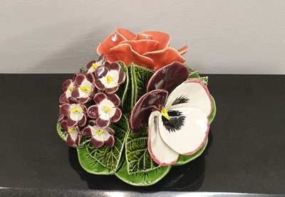Ceramic 16cm Bunch Of Roses, Pansies And Violets