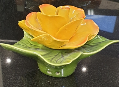 Ceramic 14cm Single Yellow Rose