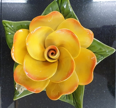 Ceramic 17cm Single Yellow Rose